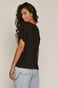 T-shirt damski oversize z prążkowanej dzianiny czarny