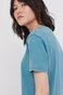 Bawełniany t-shirt damski z efektem acid wash turkusowy