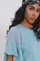 T-shirt damski z bawełny organicznej turkusowy