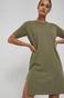 Bawełniany t-shirt damski z rozcięciem zielony