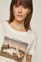 T-shirt damski z kolekcji EVIVA L'ARTE z bawełny organicznej biały
