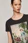 T-shirt damski EVIVA L'ARTE z bawełny organicznej szary