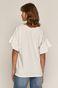 T-shirt damski z falbankami z bawełny organicznej biały