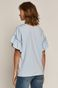 T-shirt damski z falbankami z bawełny organicznej niebieski