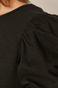 T-shirt damski z marszczeniami na rękawach czarny