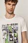 T-shirt męski z bawełny organicznej z nadrukiem Batman biały