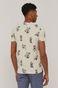 Bawełniany t-shirt męski wzorzysty kremowy