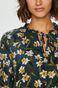 Koszula damska granatowa w kwiaty z ozdobnym wiązaniem