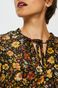 Koszula damska czarna w kwiaty z ozdobnym wiązaniem