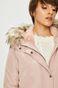Kurtka damska różowa ocieplana z odpinanym futerkiem