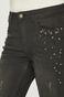 Jeansy damskie skiny z ozdobnymi detalami czarne