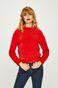 Sweter damski czerwony z warkoczowym splotem