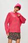 Sweter damski różowy gładki z okrągłym dekoltem