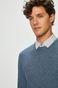 Sweter męski niebieski cienki gładki