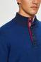Sweter męski niebieski z półgolfem z zapięciem na guziki