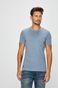 T-shirt męski niebieski z kieszonką na piersi