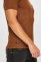 T-shirt męski brązowy z kieszonką na piersi