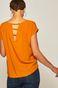 Bluzka damska z ozdobnym detalem na plecach pomarańczowa