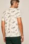 T-shirt męski z nadrukiem w samoloty kremowy