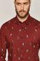 Koszula męska slim z nadrukiem bordowa