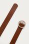 Pasek skórzany damski z okrągłą klamrą brązowy