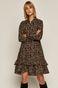 Sukienka damska wzorzysta z falbanką czarna