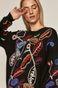 Sweter damski z domieszką wełny z aplikacją czarny