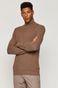 Sweter męski z golfem z bawełny organicznej brązowy