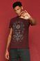 T-shirt męski Halloween z bawełny organicznej bordowy