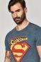Bawełniany t-shirt męski z nadrukiem Superman niebieski