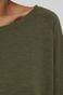 Longsleeve damski z bawełnianej dzianiny zielony