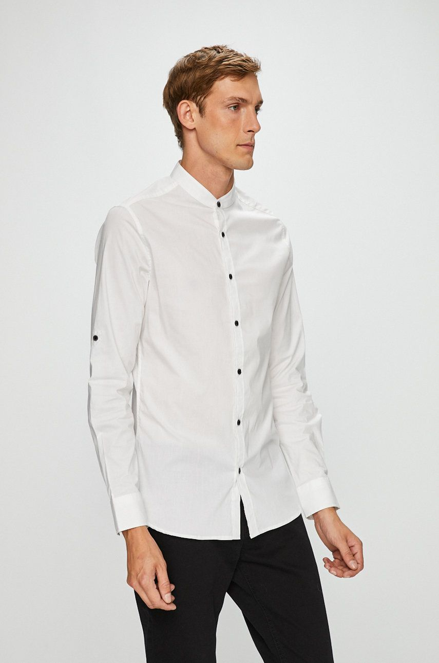 8ba4ccd4c24b Koszula męska biała ze stójką